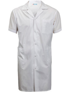 Short Sleeve Knee Length Lab Coat