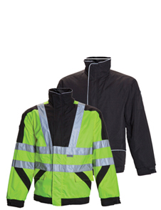 Premium quilted reversible jacket black and high visibility